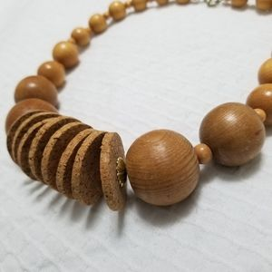 Vintage Necklace Wood Cork Beaded